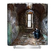 Man In Abandoned Building Shower Curtain