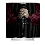 Man In Baroque Outfits Holding A Silver Dagger Shower Curtain
