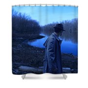 Man In Fedora By River Shower Curtain
