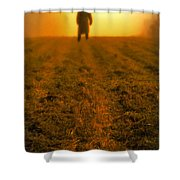Man In Field At Sunset Shower Curtain