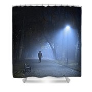 Man In Hat And Overcoat Walking In Fog On A Tree Lined Avenue In Shower Curtain