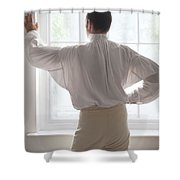 Man In Historical Shirt At The Window Shower Curtain