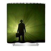 Man In Light Beams Shower Curtain