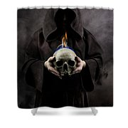 Man In The Hooded Cloak Holding Burning Human Skull In His Hand Shower Curtain