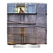 Man In The Window Shower Curtain