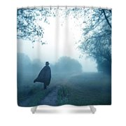 Man In Top Hat And Cape On Foggy Dirt Road Shower Curtain