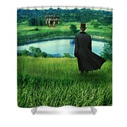 Man In Top Hat On A Hill Shower Curtain