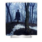Man In Top Hat Walking Through Foggy Woods Shower Curtain