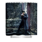 Man In Trenchcoat Lighting A Cigarette Shower Curtain