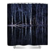 Man In Woods By River Shower Curtain