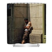 Man Leaning Against Wall In Sun Shower Curtain