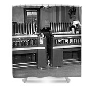 Man Loading Punch Cards Shower Curtain