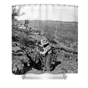 Man Mining Ore Shower Curtain