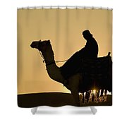 Man On Camel At Dusk Near The Pyramids Shower Curtain