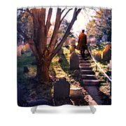 Man On Cemetery Steps Shower Curtain