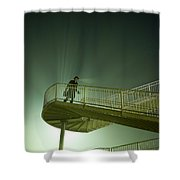 Man On Stairs With Case In Fog Shower Curtain