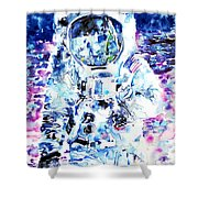 Man On The Moon - Watercolor Portrait Shower Curtain