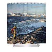Man Overlooking Olympus Range Antarctica Shower Curtain