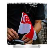 Man Plants Singapore Flag On Bicycle Shower Curtain