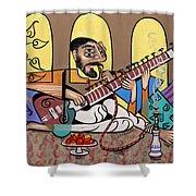 Man Playing A Sitar Shower Curtain
