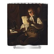 Man Reading By Candlelight Shower Curtain