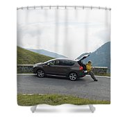 Man Rests On Trunk Of Car On Mountain Shower Curtain