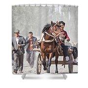 Man Riding A Carriage At Kashgar Sunday Market China Shower Curtain