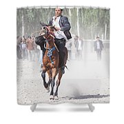 Man Riding A Horse At Kashgar Sunday Market China Shower Curtain