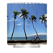 Man Riding Bicycle Beside Palm Trees Shower Curtain