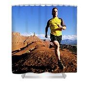 Man Running In Moab, Utah Shower Curtain