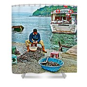 Man Selling Fresh Mussels On The Bosporus In Istanbul-turkey  Shower Curtain