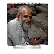 Man Smiles For Camera Lahore Pakistan Shower Curtain
