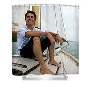 Man Smiling On Sailboat, Casco Bay Shower Curtain