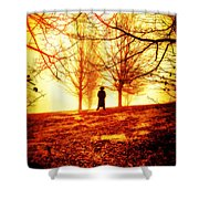 Man Standing In Front Of A Blazing Forest Fire Shower Curtain