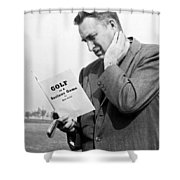 Man Studying A Golf Book Shower Curtain
