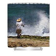 Man Versus The Sea Shower Curtain