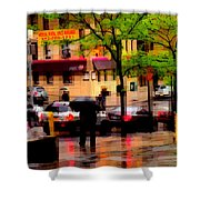 Reflections - New York City In The Rain Shower Curtain
