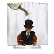 Man Wearing Suit In Flower Pot About To Shower Curtain