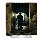 Back View Of A Victorian Man Wearing Top Hat And Long Coat In The Alley Shower Curtain
