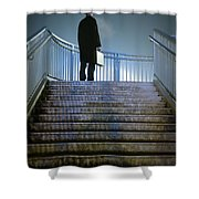Man With Case At Night On Stairs Shower Curtain