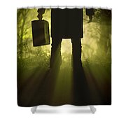Man With Case In Fog Shower Curtain