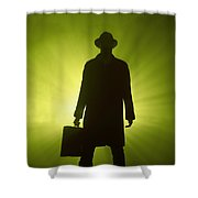 Man With Case In Green Light Shower Curtain