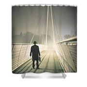 Man With Case On Bridge Shower Curtain