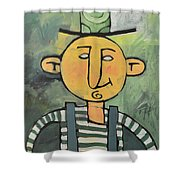 Man With Fancy Hat And Suspenders Shower Curtain