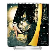 Man With Gas Mask. New Beginning. Skys The Limit Shower Curtain