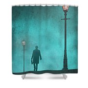 Man With Hat And Overcoat Carrying A Briefcase In Fog Shower Curtain