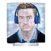 Man With Headphones Shower Curtain