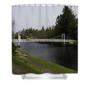Man With Kayak Crossing Over Small Bridge From Ness Islands Shower Curtain