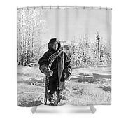 Man With Parka And Snowshoes Shower Curtain