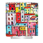 Manarola Colorful Houses Painting Detail Shower Curtain